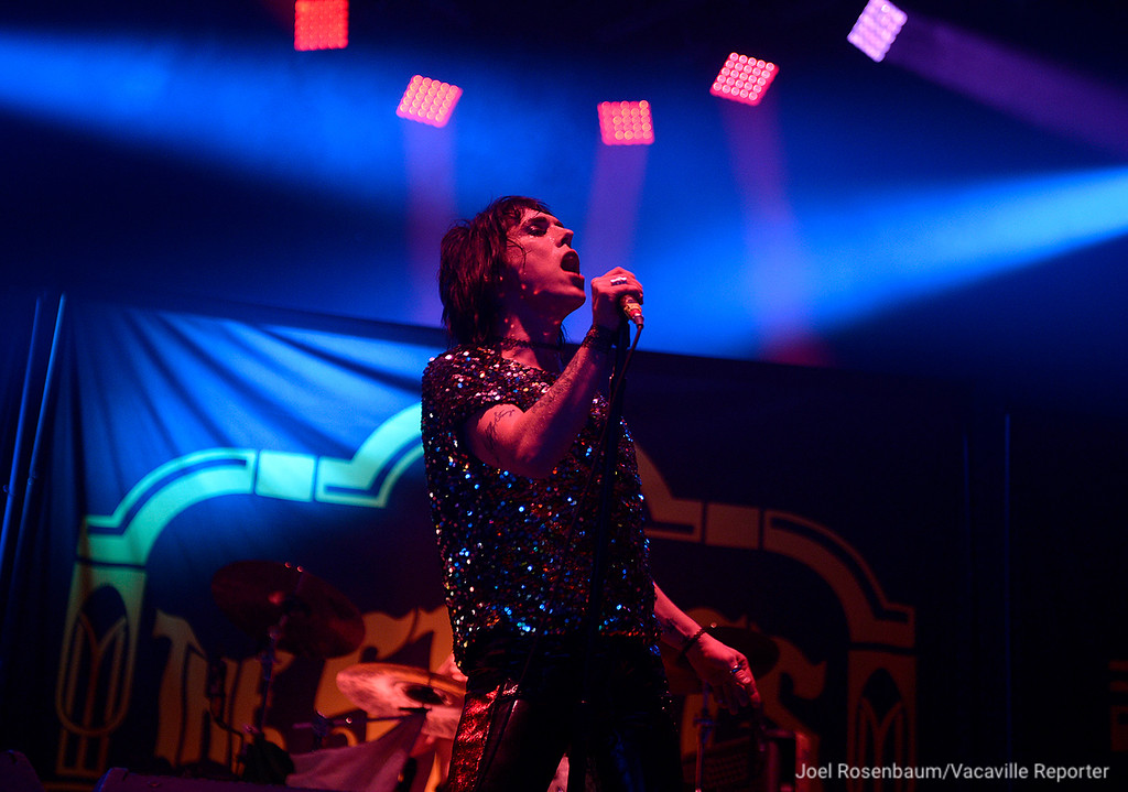 . Luke Spiller, lead singer of The Struts performs with the band as the opening act for Foo Fighters Saturday at the Golden 1 Center in Sacramento.