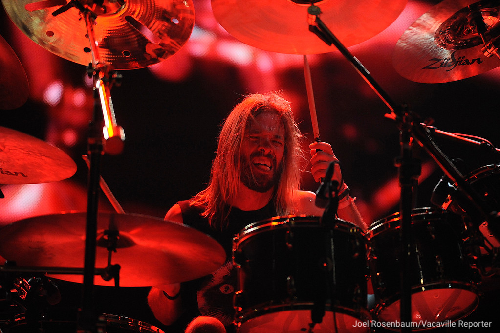 ". Foo Fighters drummer, Taylor Hawkins keeps the beat as they perform ""All My Life during their sold-out show Saturday at the Golden 1 Center in Sacramento."