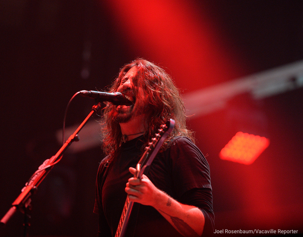. Dave Grohl, leads his band, Foo Fighters, through their opening number, �Run� from their new album. Concrete and Gold Saturday night during their sold-out tour stop at the Golden 1 Center in Sacramento.