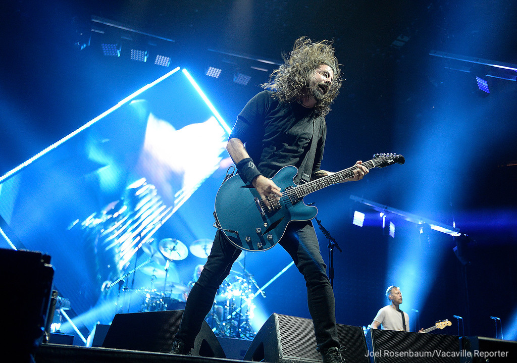 ". Dave Grohl, leads his band, Foo Fighters, through ""All My Life\"" Saturday night during their sold-out tour stop at the Golden 1 Center in Sacramento."