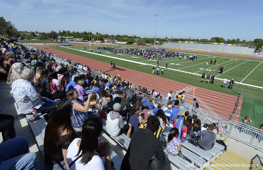 . Crowds pack the bleachers and the field as the listen to Vacaville Unified School District Superintendent, Jane Shamieh delivers her remarks during the grand opening ceremonies for Wildcat Stadium Thursday at Wood.