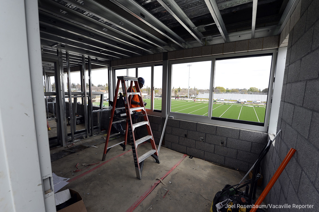 . Workers continue making progress on the press box at the new Wildcat Stadium on the campus of Will C. Wood High School. Vacaville School District Officials conducted a walking tour of the facility Wednesday to update the status of the stadium.