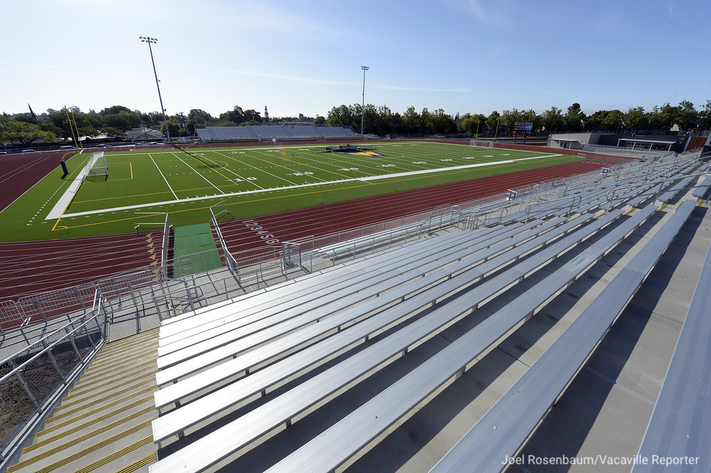 . Sunlight gleams off the bleachers on the home side of WIldcat Stadium Thursday on the campus of Will C. Wood High. Just over a year from when ground was broken on the the $16 million complex, construction is complete and is ready for its grand opening.