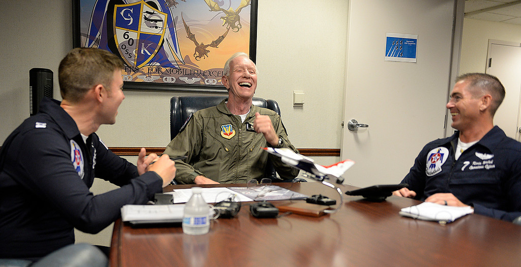 ". Captain Chesley ""Sully\"" Sullenberger  shares a laugh with United States Air Force Lt. Colonel, Kevin Walsh (left) and  and Captain Erik Gonsalves both pilots with the Thunderbirds before his incentive flight with the Air Force\'s demonstration team,. Joel Rosenbaum -- The Reporter"