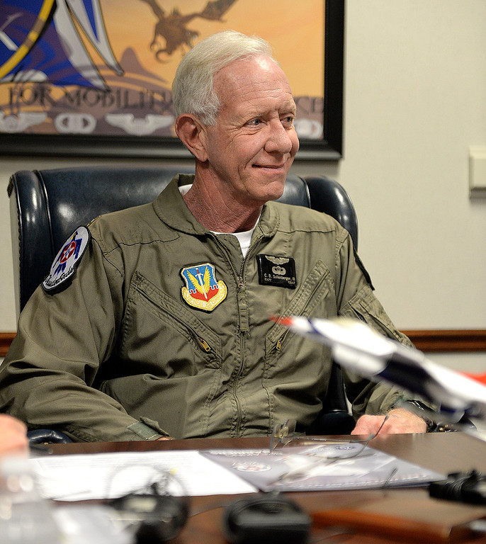 ". Captain Chesley ""Sully\"" Sullenberger gets his safety briefing from United States Air Force Lt. Colonel, Kevin Walsh who is the Operations Officer with the Thunderbirds before his incentive flight with the Air Force\'s demonstration team. Joel Rosenbaum -- The Reporter"