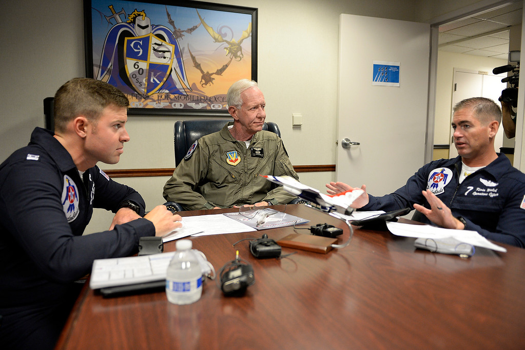 ". Captain Chesley ""Sully\"" Sullenberger  gets his safety briefing from United States Air Force Lt. Colonel, Kevin Walsh (left) and  and Captain Erik Gonsalves both pilots with the Thunderbirds before his incentive flight with the Air Force\'s demonstration team. Joel Rosenbaum -- The Reporter"