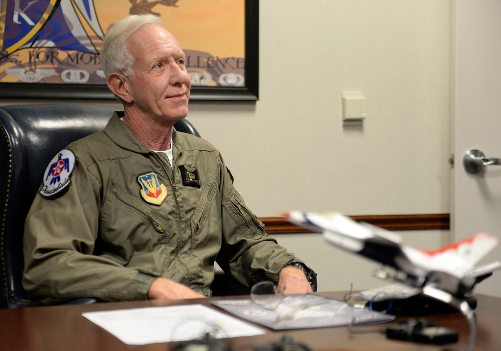". Captain Chesley ""Sully\"" Sullenberger waits for his his safety briefing  before his flight with the Thunderbirds before his incentive flight with the Air Force\'s demonstration team. The Thunderbirds are in town at Travis and will perform on Saturday and Sunday. Joel Rosenbaum -- The Reporter"