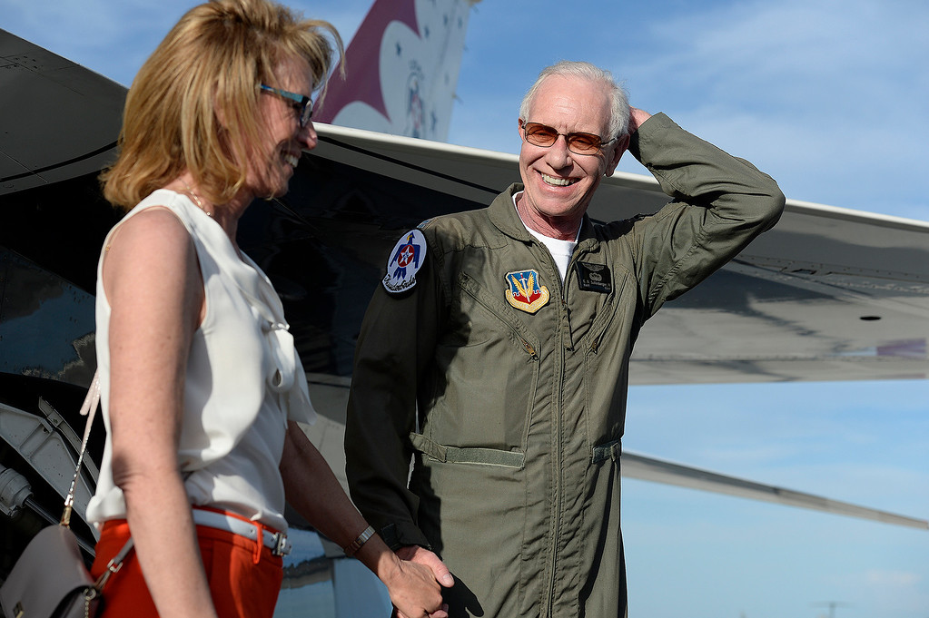 ". Captain Chesley ""Sully\"" Sullenberger stands with his wife, Lorrie after his Thursday afternoon flight with the Thunderbirds at Travis Air Force Base. Joel Rosenbaum -- The Reporter"