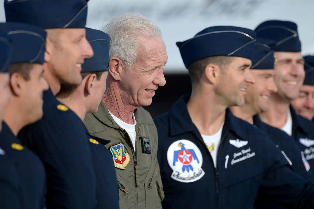 ". Captain Chesley ""Sully\"" Sullenberger poses for a picture with members of the United States Air Force Thunderbirds after he flew with them Thursday at Travis Air Force Base. Joel Rosenbaum -- The Reporter"