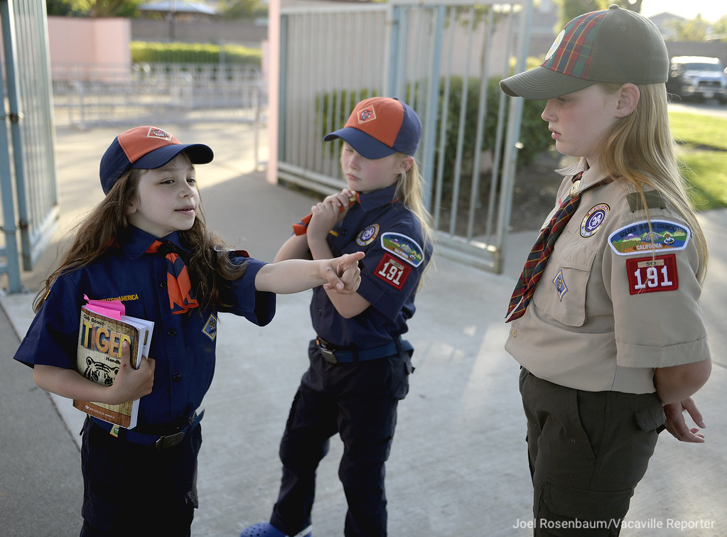 . Cub Scouts, Teagan Byrd, 7 talks with fellow scouts, Emma Thomsen, 6 and her older sister, Lara, 10 before a recent den meeting at Foxboro Elementary School in Vacaville. The three girls are among the eight who a members of the Cub Scout Pack 191, that is part of the Boy Scouts of Americas, early adopter program that was passed last October allowing girls to join Cub Scouts and a Scout troop in 2019.