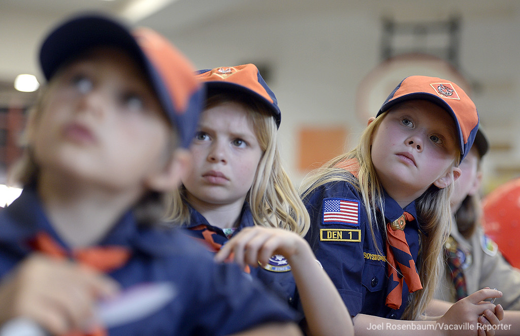 . Lillian Perry, 7 (left) Sierra Washington, 7 (middle) and Emma Thomsen, 6 all of Vacaville watch as their den leader, Brenda Washington instructs them on proper knife safety during a meeting at Foxboro Elementary School. All three girls are Cub Scouts in Vacaville Pack 191 and part of the early adopter program that admitted girls into scouting, first in Cub Scout Packs and eventually onto to scout troops in 2019.