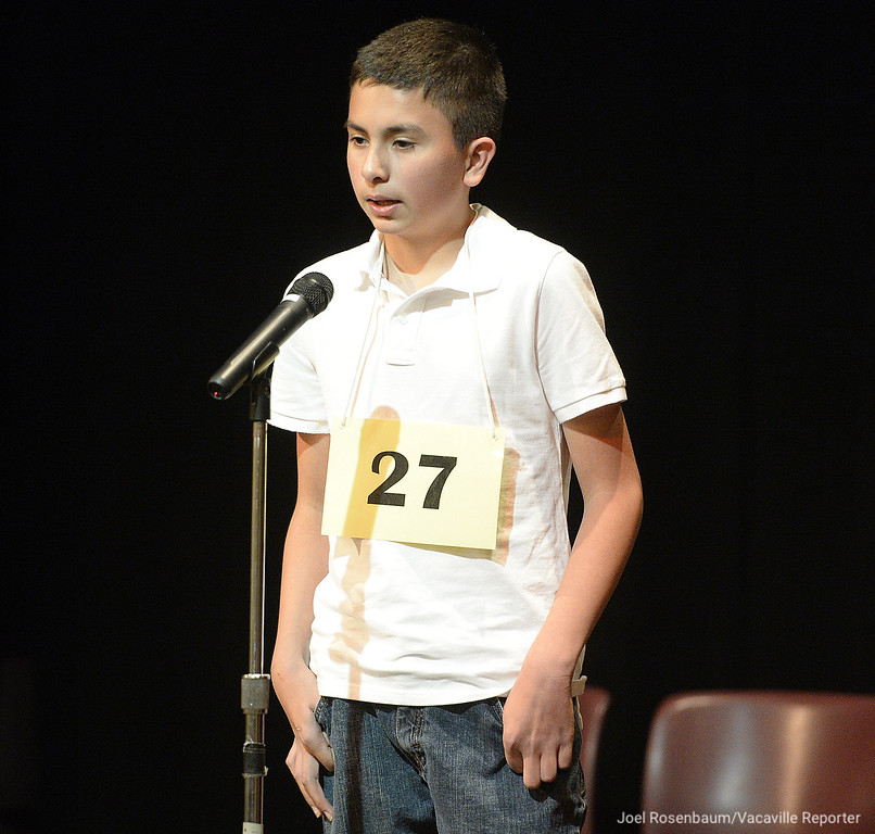 ". Diego Gonzalez, of Vacaville a sixth grader at Jean Callison Elementary School works through the word ""masquerade\"" in the final round of the 2018 countywide spelling bee Tuesday at the Joseph A. Nelson Community Center in Suisun City. Gonzalez misspelled the word and finished second."
