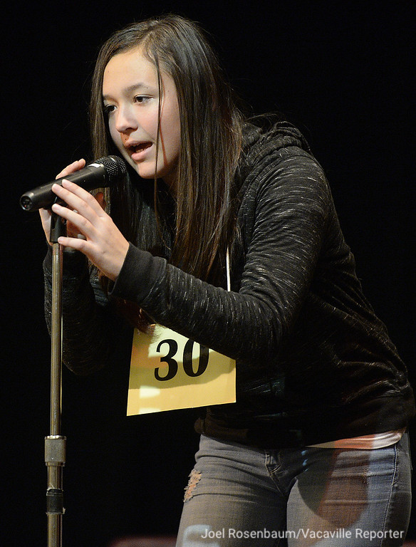 . Victoria Tamariz of Vacaville a fifth grader at Alamo Elementary School competes in the early rounds of the 42nd Solano County Spelling Bee, Tuesday at the Joseph Nelson Center in Suisun City.