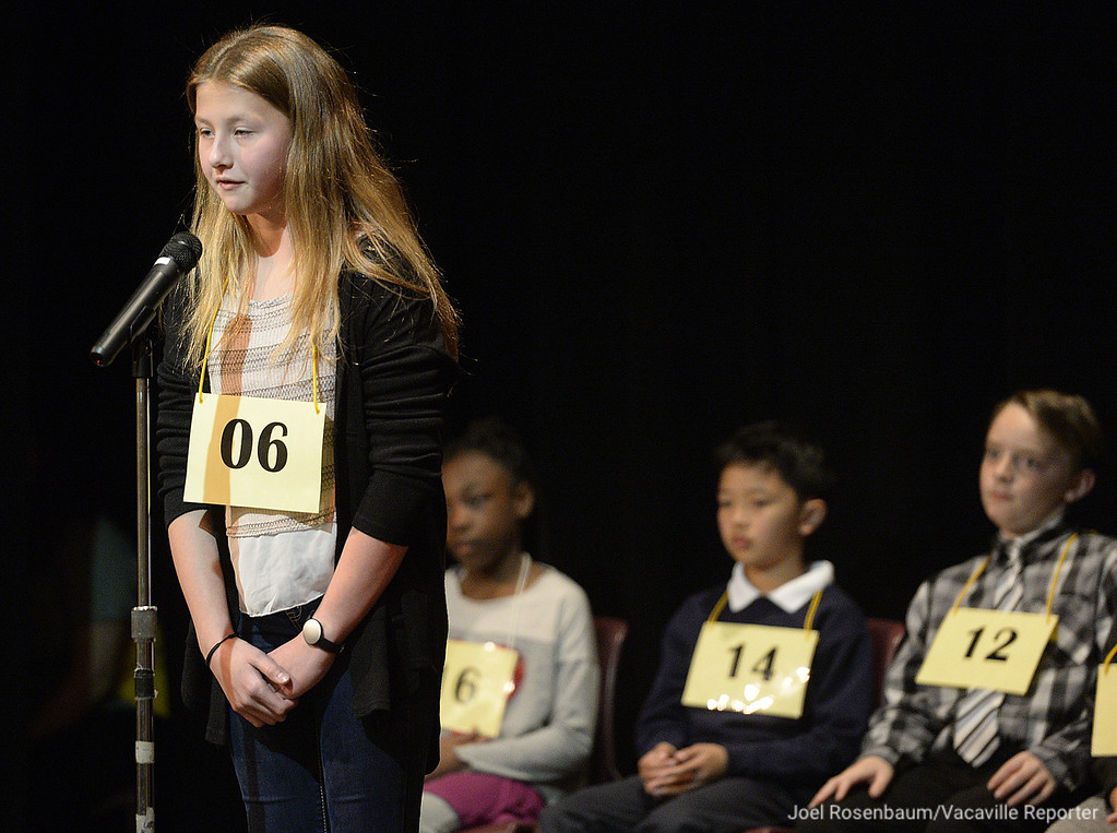 . Alannah Fields of Vacaville, a sixth grader at Orchard Elementary School competes in the early rounds of the 42nd Solano County Spelling Bee, Tuesday at the Joseph Nelson Center in Suisun City.