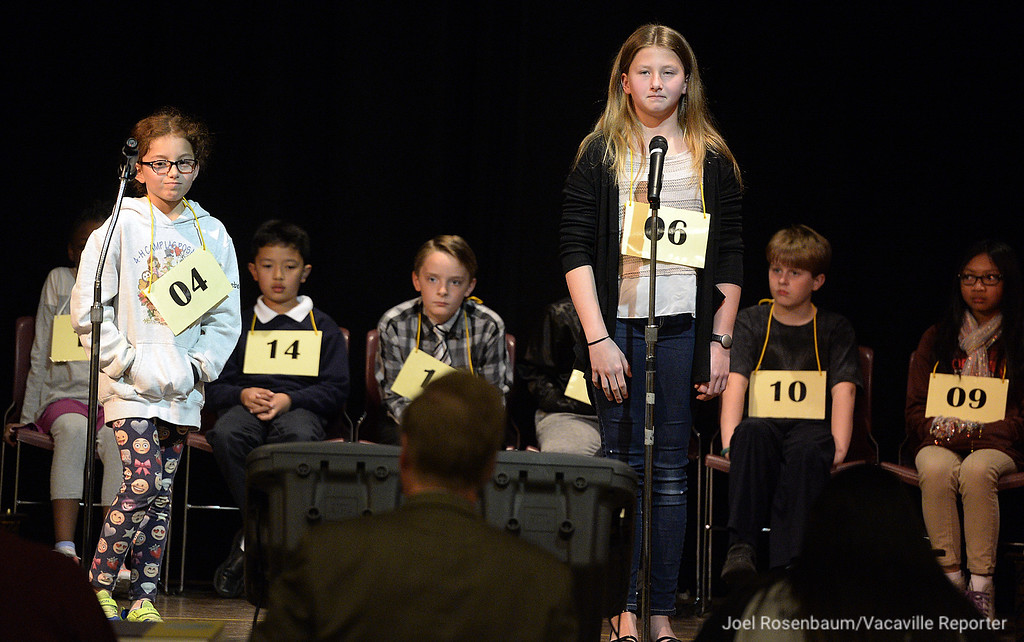 . Rebecca Amar (left) of Vacaville a fourth grader at Cambridge Elementary School and Alannah Fields of Vacaville, a sixth grader at Orchard Elementary School compete in the early rounds of the 42nd Solano County Spelling Bee, Tuesday at the Joseph Nelson Center in Suisun City.