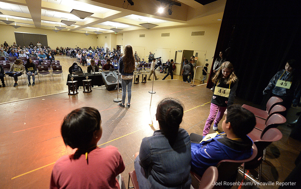 ". Nearly 50 students from elementary and middle schools around Solano County compete in the 42 Annual Solano County Spelling Bee Tuesday at the Joseph A. Nelson Community Center. In the end, James Maravilla (right) a fourth grader at Federal Terrace Elementary School in Vallejo spelled the word, ""vengeance\"" correctly to win the competition."