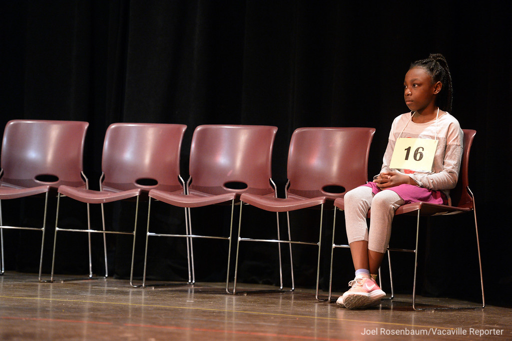 . Saniyah Birdsong of Fairfield a fourth grader at K.I. Jones Elementary School waits her turn to compete in the early rounds of the 2018 Solano County Spelling Bee.
