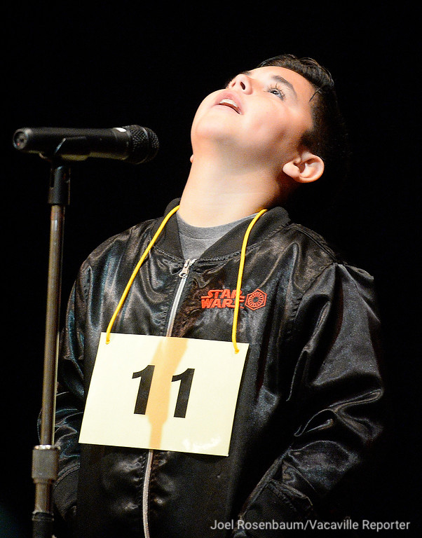 . Zidane Koller of Vacaville a fifth grader at Browns Valley Elementary reacts to his word as he competes in 2018 county-wide spelling bee Tuesday in Suisun City.