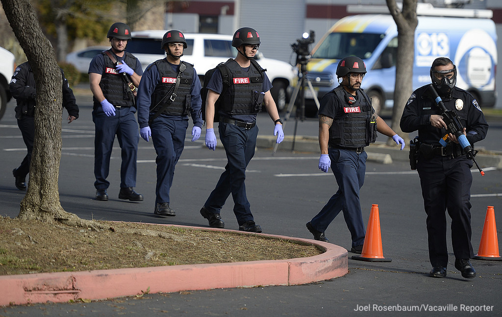 . Officers with the Fairfield and Suisun City Police Departments escort personnel from the Fairfield Fire Department to the scene at Mt. Calvary Baptist Church with multiple stabbing victims during an emergency preparedness drill.