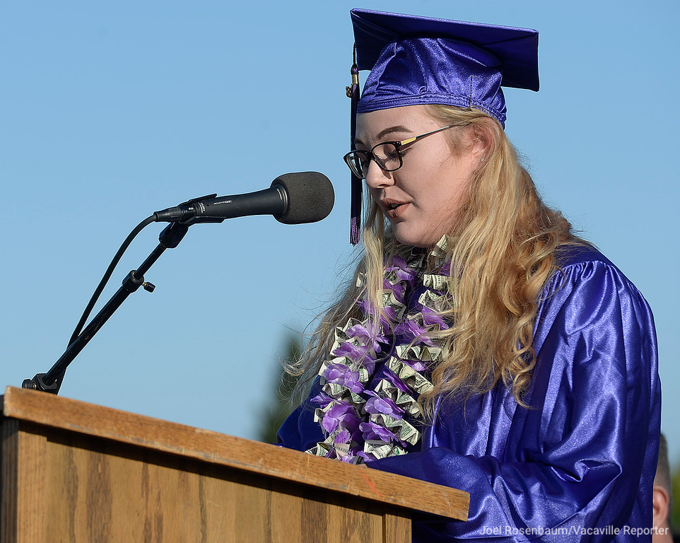 . County High School graduate, Bailey Huddleston delivers her remarks during Thursday\'s ceremonies.