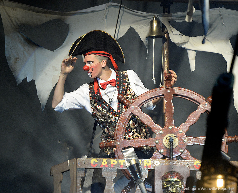 . Brian Mota mans the wheel of the pirate ship during the opening number of Thursday nights performance.