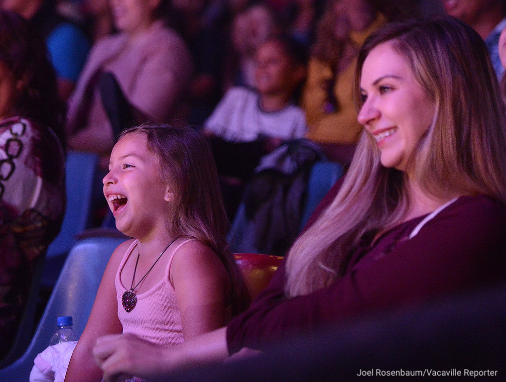 . Alaina Anchante, 5 (left) and her mother, Erica of Vacaville laugh at the antics of the Circus Vargas clowns, Brian Angel Mota, his father Miguel and uncle. Johnny Valentin during opening night Thursday in Fairfield.
