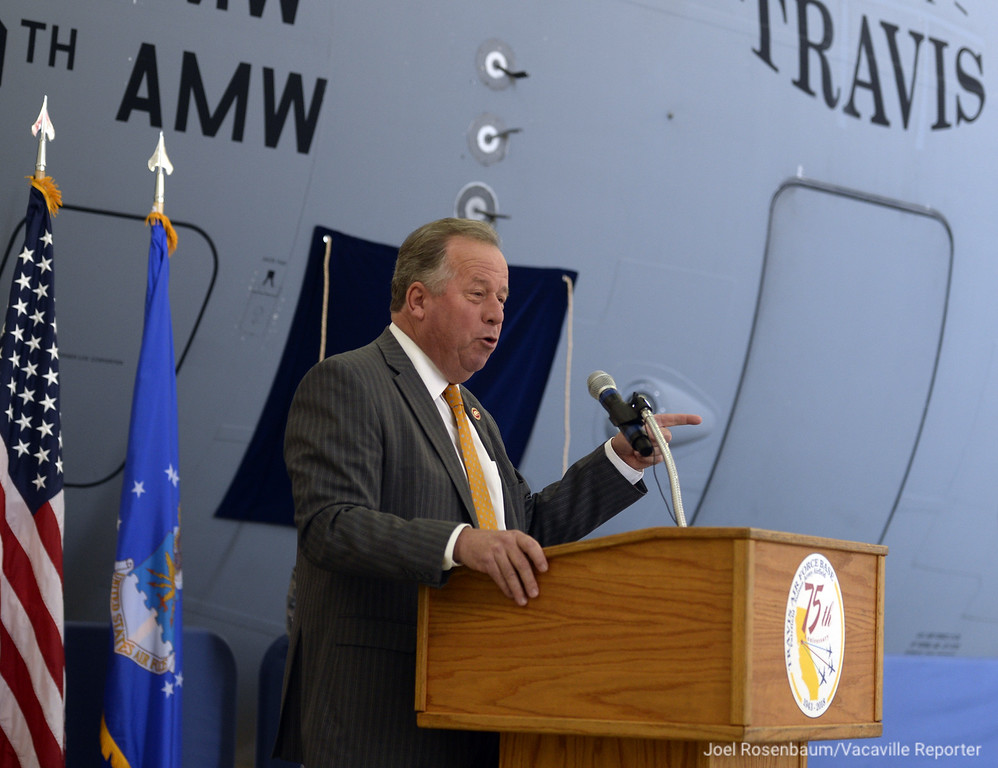 . California State Senator, Bill Dodd delivers his remarks during a 75th Anniversary Ceremony for Travis Air Force Base Thursday on base. Joel Rosenbaum -- The Reporter