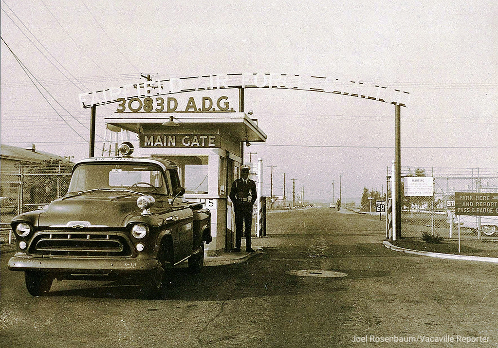 . An historical image of the main gate at what is now known as Travis Air Force Base. The base is celebrating its 75th year as military installation, First as Fairfield-Suisun Army Air Base in 1943 till it was renamed Travis Air Force Base in 1951 for Brigadier General Robert F. Travis, who was killed when a B-29 Superfortress crashed shortly after takeoff in August of 1950. Photo courtesy Travis Air Force Base Public Affairs