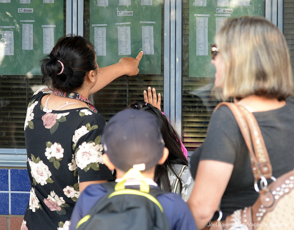 . Parents and their students at Tremont Elementary School scan the classroom rosters to learn who their teachers are on the first day of school Thursday in Dixon.