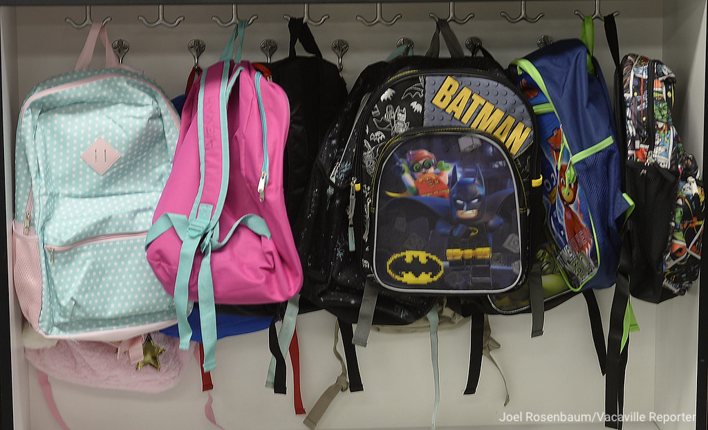 . Students backpacks are neatly hung on hooks in Mia Lodigiani\'s kindergarten class at Tremont Elementary School in Dixon.