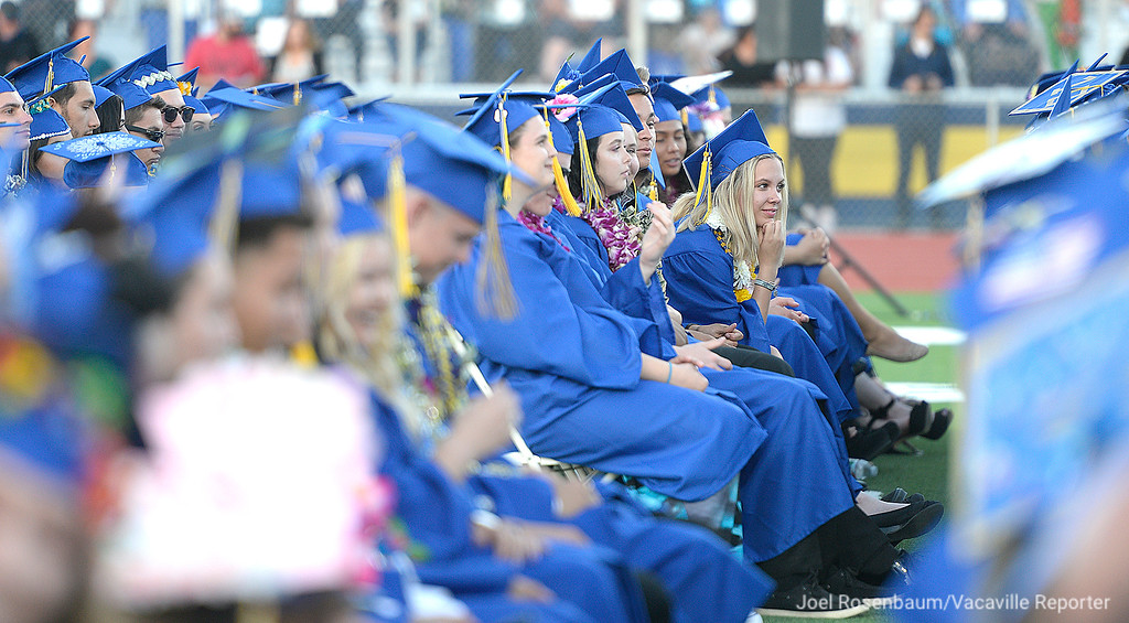 . Members of the Will C. Wood graduating class of 2018 listen as school board member, Michael Kitzes delivers his remarks during graduation ceremonies Friday at Wood.