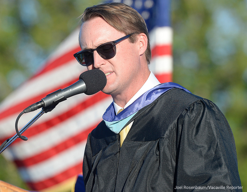 . Will C. Wood principal, Adam Rich delivers his remarks during graduation ceremonies Friday on the field at Wildcat Stadium at Wood.