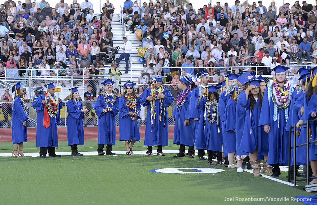 . In front of a packed Wildcat Stadium, members of the Will C. Wood graduating class of 2018 wait their turn to receive their diplomas during commencement ceremonies Friday at Wood.