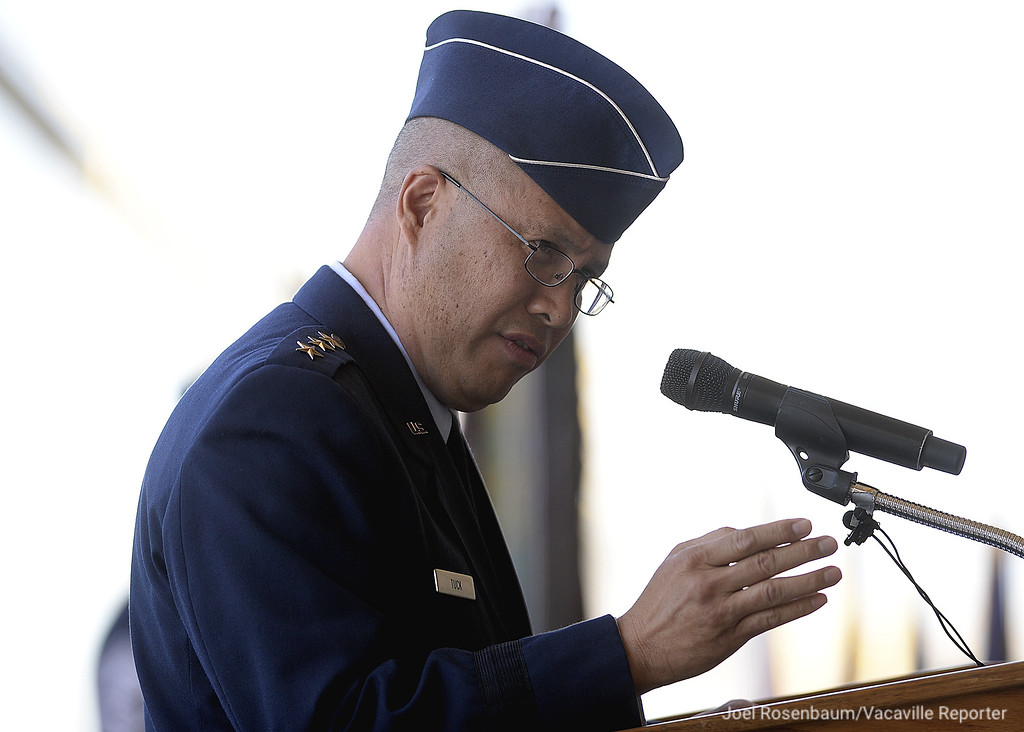 . United States Air Force Lt. General Giovanni K. Tuck, commander 18th Air Force delivers his remarks during a the during a change of Command Ceremony Tuesday, at Travis Air Force Base in Fairfield.