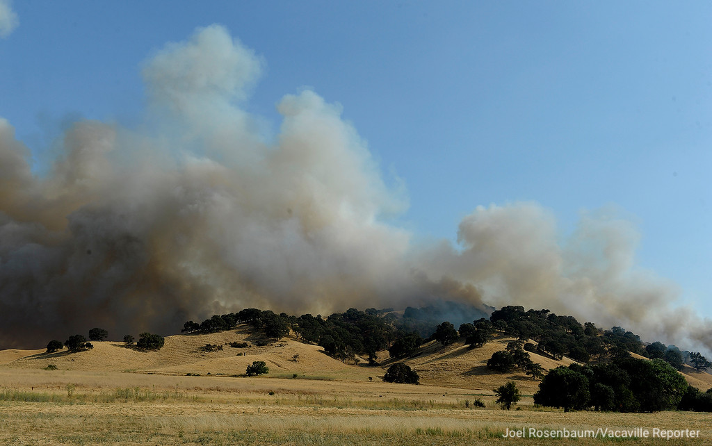 . Smoke billows into the air from the 1,000 acre Nelson Fire in the hills above Lagoon Valley late Friday afternoon.
