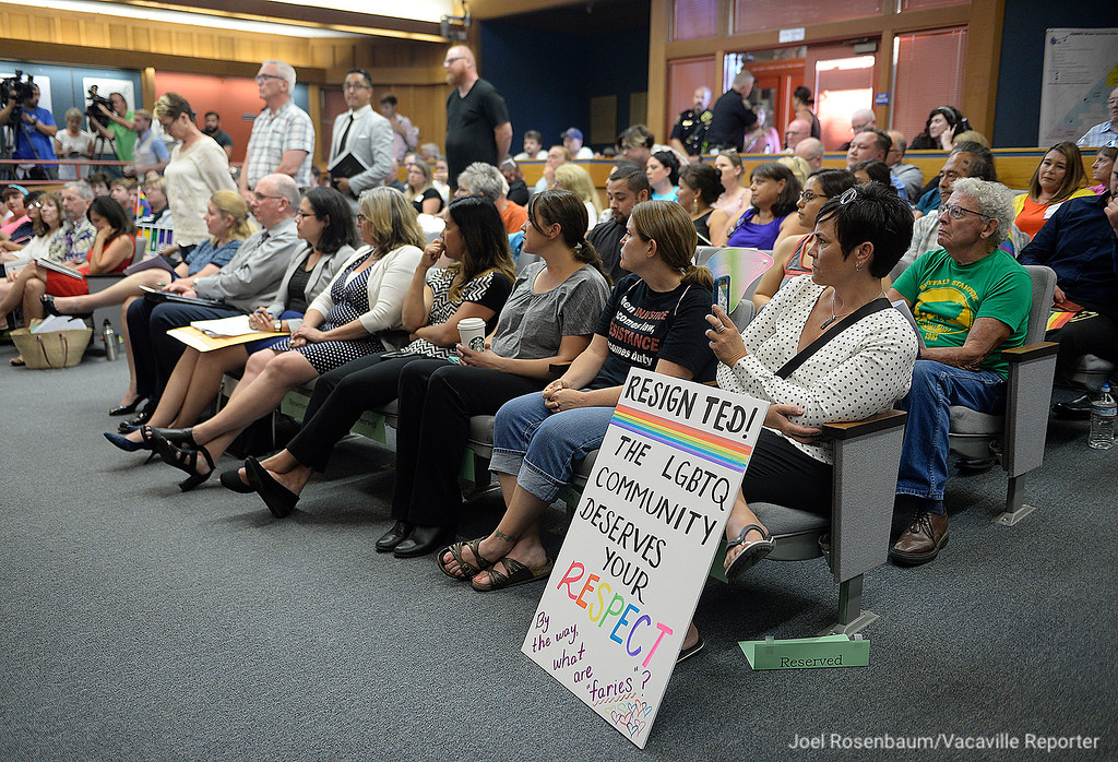 . The Dixon City Council Chamber is filled to capacity as citizens bring their concerns to the council about Vice Mayor Ted Hickman�s June 30 column in which he was campaigning for Straight American Pride Month and referred to members in the LGBTQ community as �tinkerbells� and �faries� (sic).