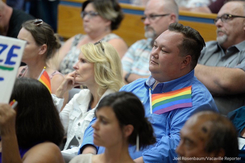 . The Dixon City Council Chambers is filled to capacity Tuesday as citizens address their concerns about Vice Mayor, Ted Hickman\'s  June 30 newspaper column in which he campaigned for a Straight Pride Month and referred to members in the LGBTQ community as �tinkerbells� and �faries� (sic).