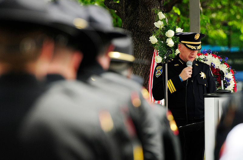 FAIRFIELD, CA - MAY 16, Benicia Chief of Police, Erik Upson, delivers the keynote address during the 2018 Peace Officers' Memorial Service on Wednesday in Fairfield. (Chris Riley/Times-Herald)