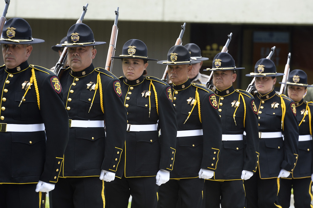. Members of the Solano County Sheriff\'s Office Honor Guard march in formation at the beginning of the 2018 Peace Officer\'s Memorial on Wednesday in Fairfield. Joel Rosenbaum -- The Reporter