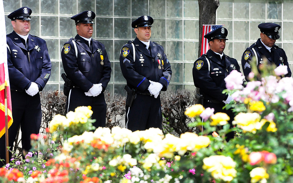 . FAIRFIELD, CA - MAY 16, Vallejo Police honor guard stand in formation during the 2018 Peace Officers\' Memorial Service on Wednesday in Fairfield. (Chris Riley/Times-Herald)