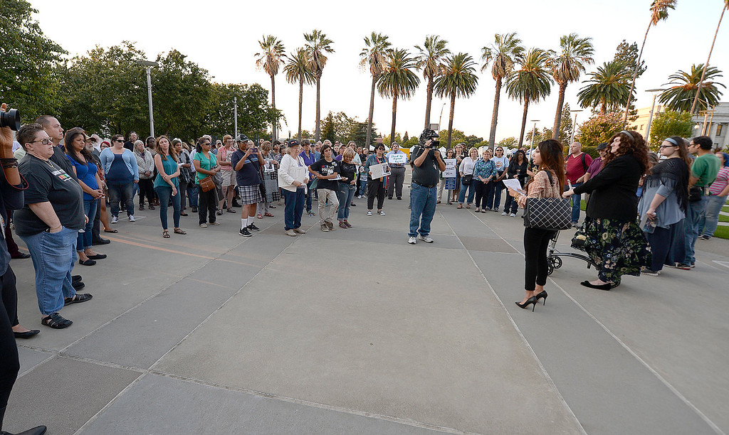 . Nearly 100 people attended the candlelight vigil to show solidarity for people of Charlottesville, Virginia. Thursday at the Solano County Government Center  which was sponsored by the Jewish Caucus of the California Young Democrats and the Solano County Democratic Party. Joel Rosenbaum -- The Reporter