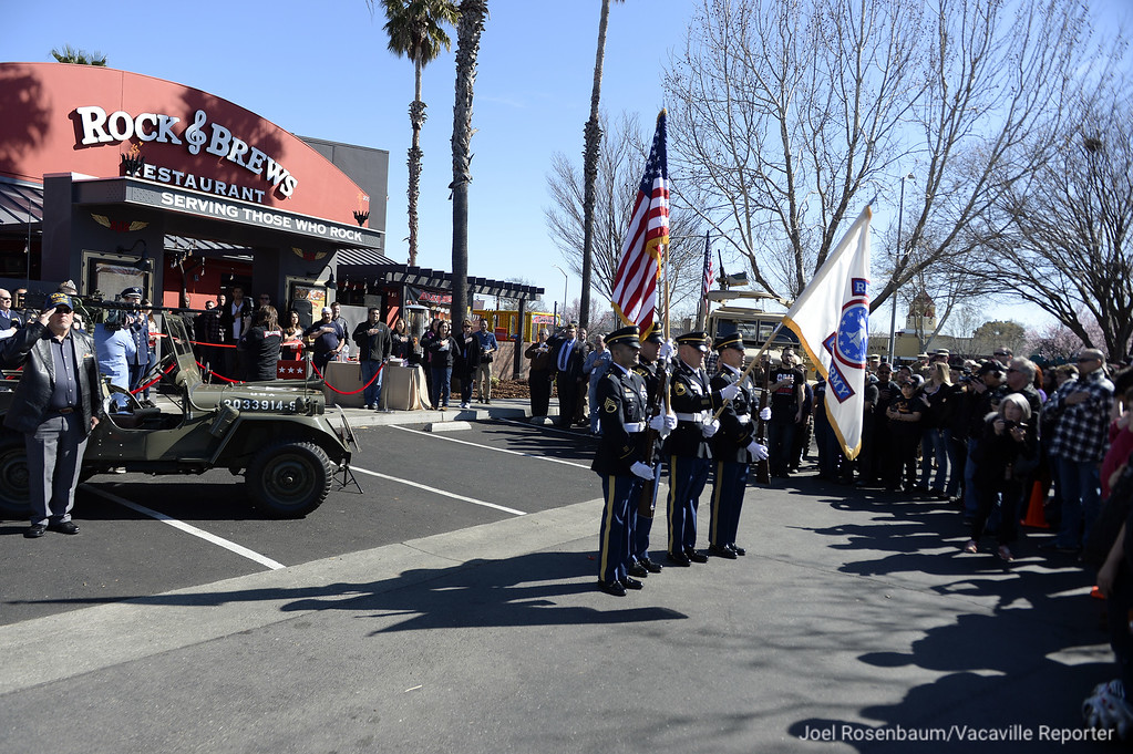. An United State Army honor guard presents the colors before a grand opening ceremony at the Rock & Brews Restaurant in Vacaville.