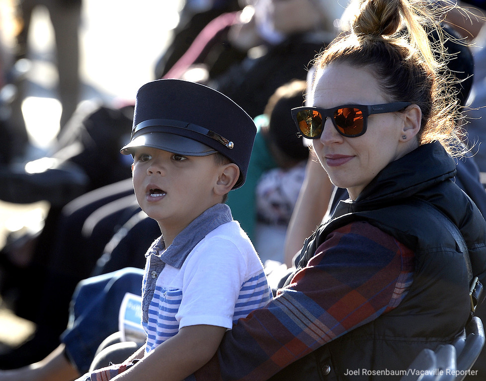 . Dash Castillo, 4 of Fairfield watches as Capitol Corridor Train #540 leaves the Fairfield-Vacaville Train Station as he sits with his mother, Brittany during the grand opening ceremony for the station Thursday in Fairfield.