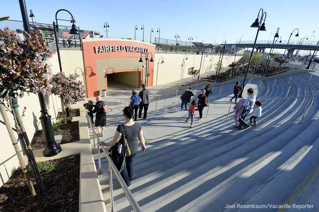 . People walk toward the platform of the new Fairfield-Vacaville Train was officially opened Thursday after three years of construction.