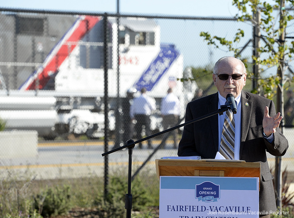. Vacaville Mayor, Len Augustine delivers his remarks during a grand opening ceremony at the new Fairfield-Vacaville Train Station Thursday in Fairfield.