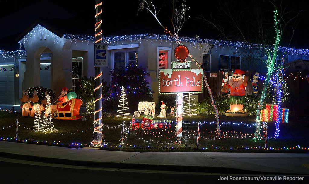". The residents of Rehrmann Drive in Dixon renamed their neighborhood for the holiday calling it ""Dixon\'s North Pole.\"" Many of the homes having elaborate displays. They also help the community by holding food drives asking visitors to bring canned food."