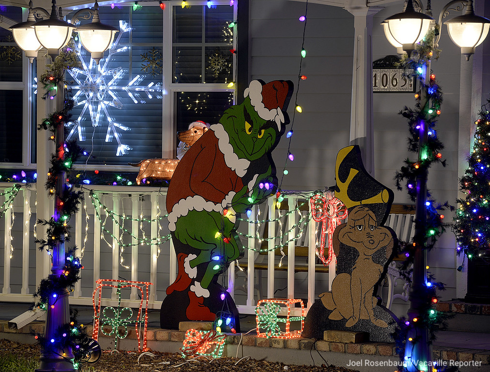. A six foot tall Grinch and his four-foot tall dog, Max were made by hand by Dale and Bobbi Strange of Vacaville and are the latest addition to their Christmas lights display that they have been doing for over 30 years at the home on Davis Street.