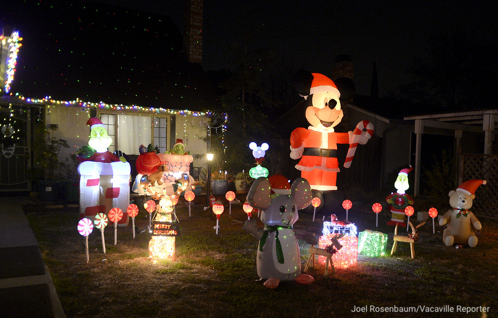 . The Anton home along the 200 block of Cambridge Drive features both charactes from Disney and Dr. Seuss. The display with more than 2,500 lights and nearly a dozen inflatables, takes them a couple of weeks to set up in place on their front lawn.