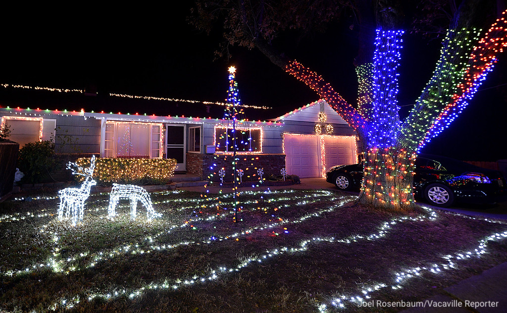 . The Henderson Family home in the 700 block of Marvin Way in Dixon features a synchronized light show with music. In addition, to week it takes Matthew Henderson to set up the over 50 thousand lights, he also invests about 10 hours programing the show.