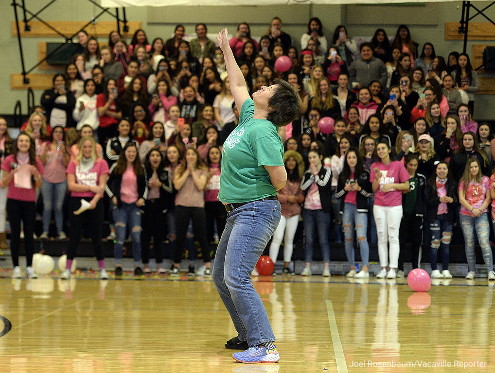 . Dixon High School English teacher, Virginia  Lantry competes in a teachers versus students dance-off during the Sweethearts\' Rally Friday at the school.